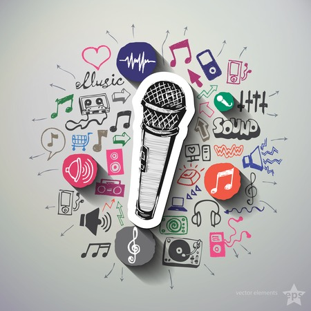 entertainment graphics: Music and entertainment collage with icons background. Vector illustration Illustration