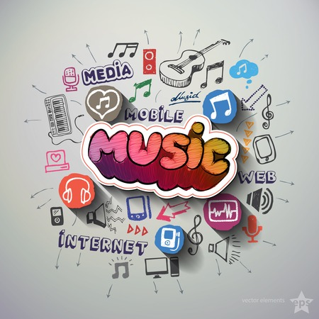Music and entertainment collage with icons background. Vector illustration Illustration