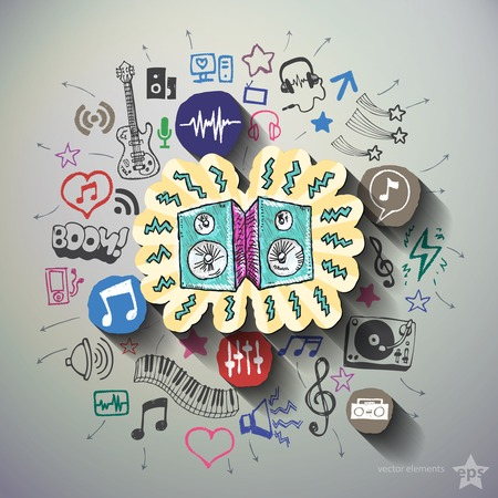 Entertainment and music collage with icons background. Vector illustration Vector