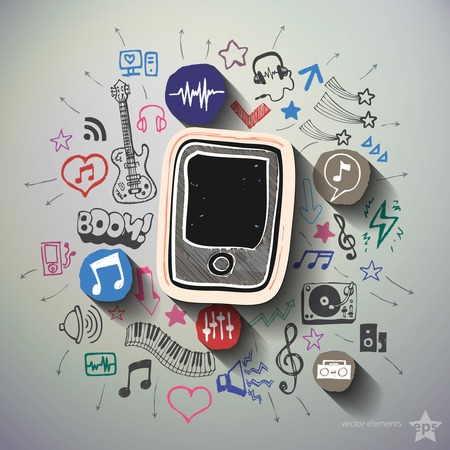 walkman: Entertainment and music collage with icons background. Vector illustration