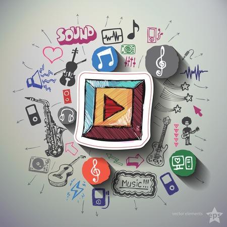 Música y entretenimiento collage con iconos de fondo. Ilustración vectorial