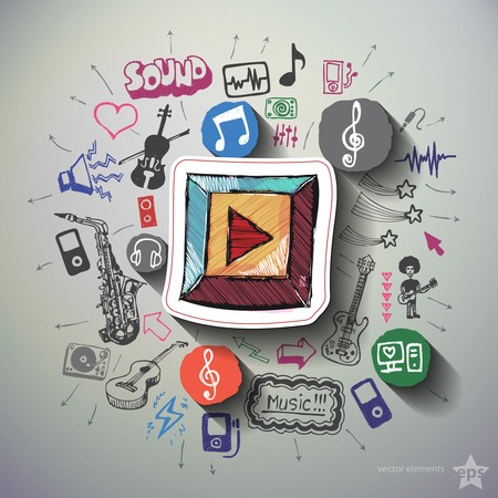 entertainment: Music and entertainment collage with icons background. Vector illustration Illustration