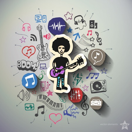 walkman: Music and entertainment collage with icons background. Vector illustration Illustration
