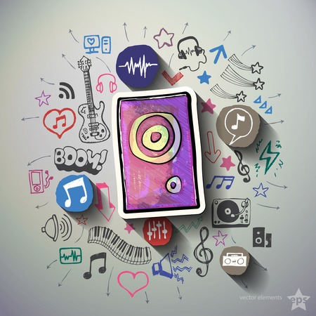 Music and entertainment collage with icons background. Vector illustration Vector