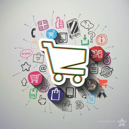 Shopping collage with icons background. Vector illustration Vector