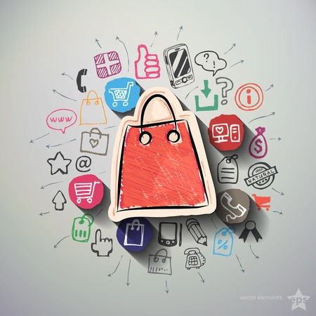 collage: Shopping collage with icons background. Vector illustration