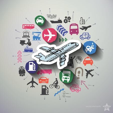 Transportation collage with icons background. Vector illustration Ilustração