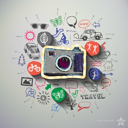 business collage: Travel collage with icons background. Vector illustration Illustration