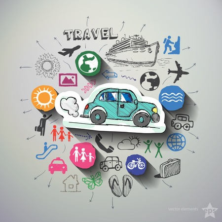 Travel collage with icons background. Vector illustration Vector