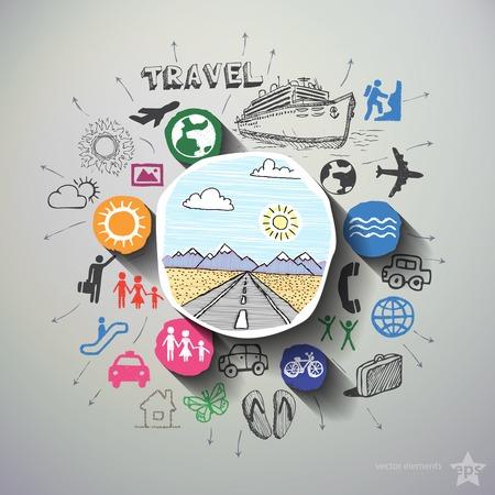 Cestovní koláž s ikony pozadí. Vektorové ilustrace Ilustrace