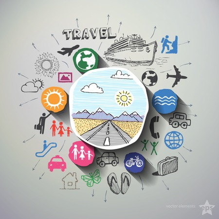 Collage del viaje con los iconos de fondo. Ilustración vectorial