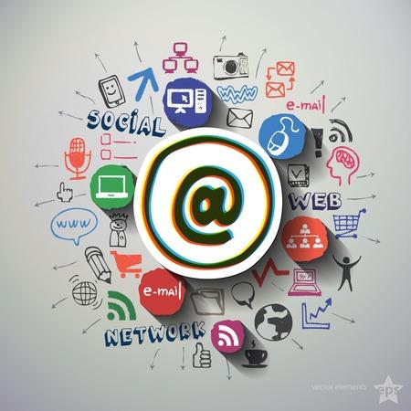 medios de comunicacion: Collage medios sociales con los iconos de fondo. Ilustraci�n vectorial Vectores
