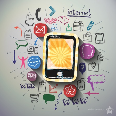 social commerce: Mobile Internet collage with icons background. Vector illustration