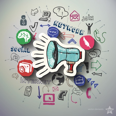 collage: Social networking collage with icons background. Vector illustration