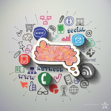 web commerce: Web commerce collage con le icone sfondo. Illustrazione vettoriale