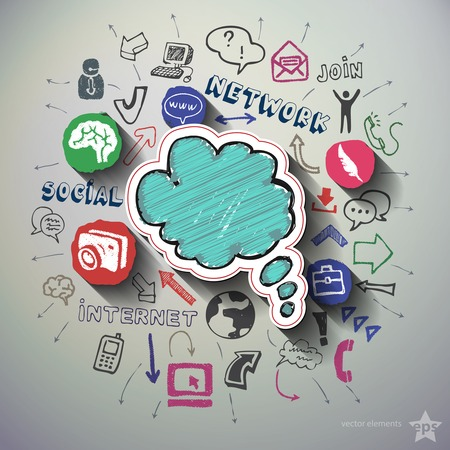 Social networking collage with icons background. Vector illustration