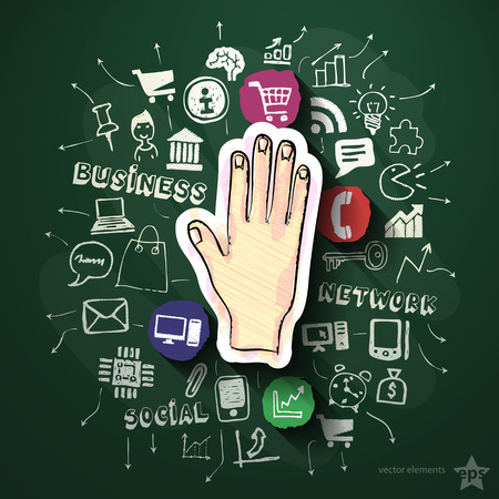 Hand collage with icons on blackboard. Vector illustration Vector