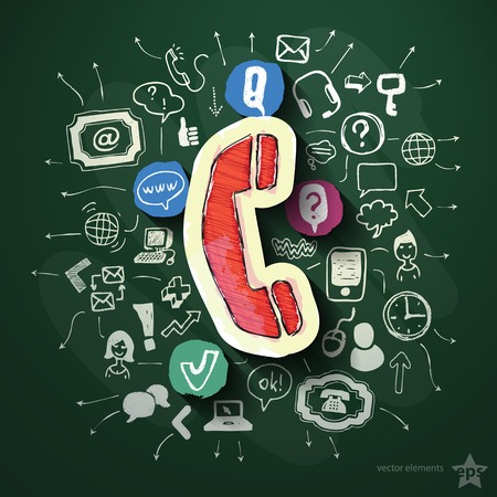 Phone collage with icons on blackboard. Vector illustration Vector