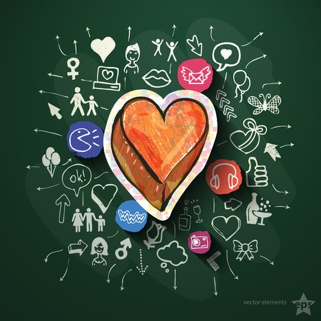 Heart collage with icons on blackboard. Vector illustration