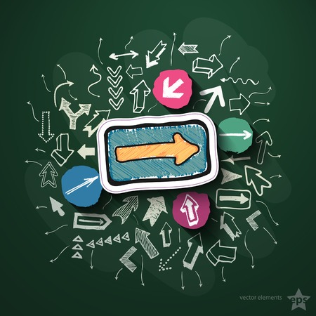 Arrows collage with icons on blackboard. Vector illustration Vector
