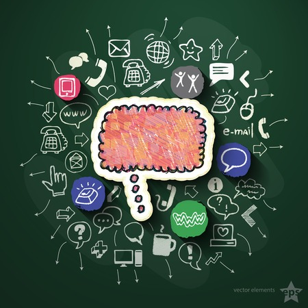 Network collage with icons on blackboard. Vector illustration Vector