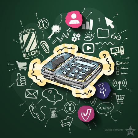 Internet media with icons on blackboard. Vector illustration Vector