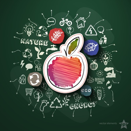 Eco collage with icons on blackboard. Vector illustration Vector