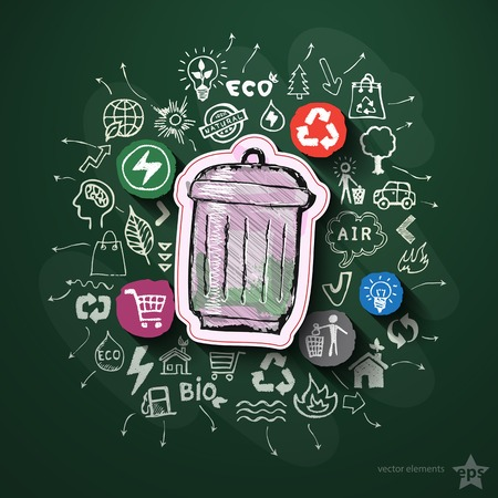 Environment collage with icons on blackboard. Vector illustration Vector