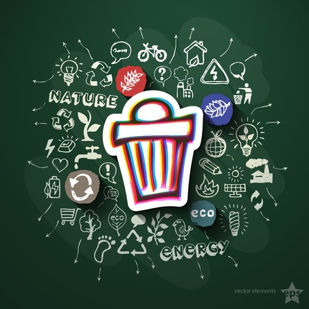 Ecology collage with icons on blackboard. Vector illustration Vector
