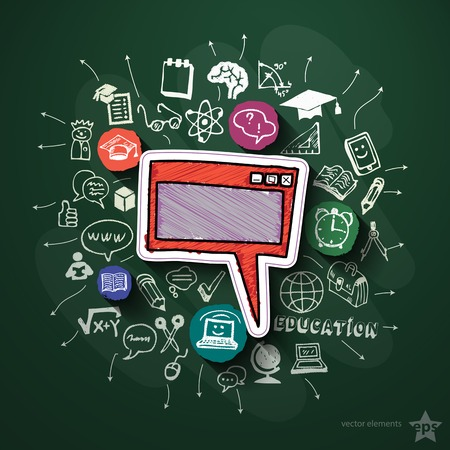 Education collage with icons on blackboard. Vector illustration Vector
