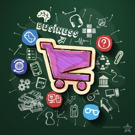 Business collage with icons on blackboard. Vector illustration Vector