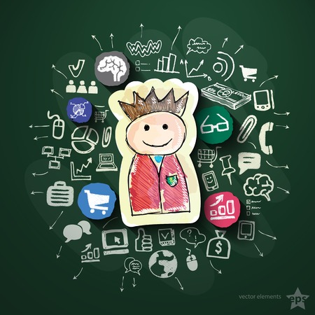 Social media collage with icons on blackboard. Vector illustration Vector