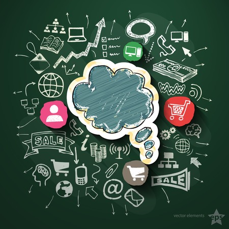 Internet marketing collage with icons on blackboard. Vector illustration Vector