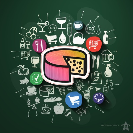 Food collage with icons on blackboard. Vector illustration Vector