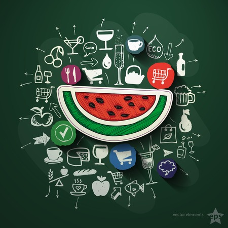 Meals and drinks collage with icons on blackboard. Vector illustration Vector