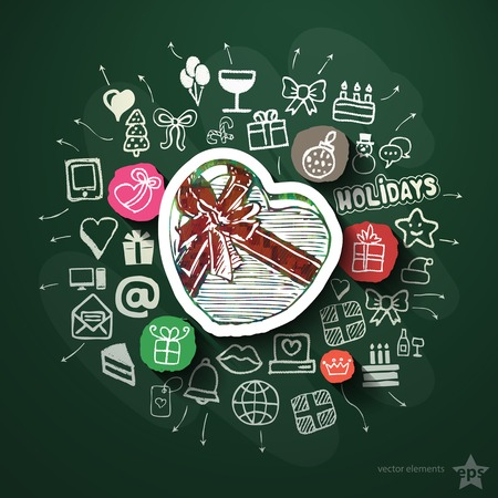 Celebration collage with icons on blackboard. Vector illustration Vector