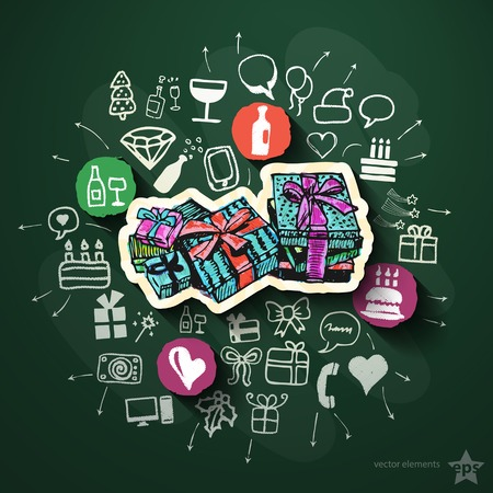 Holidays collage with icons on blackboard. Vector illustration Vector