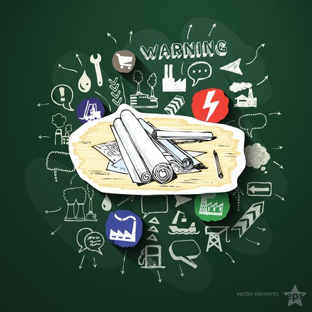 Industrial collage with icons on blackboard. Vector illustration Vector