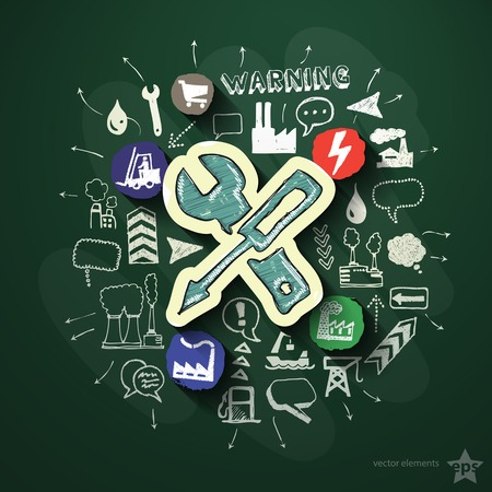 Industry collage with icons on blackboard. Vector illustration Vector
