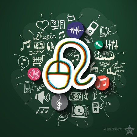 walkman: Entertainment and music collage with icons on blackboard. Vector illustration