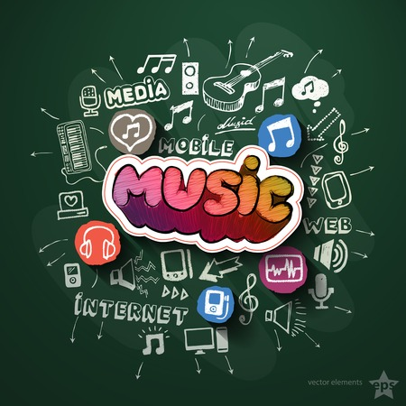 Music and entertainment collage with icons on blackboard. Vector illustration Vector
