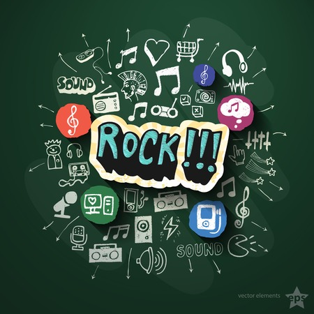 Entertainment and music collage with icons on blackboard. Vector illustration Vector