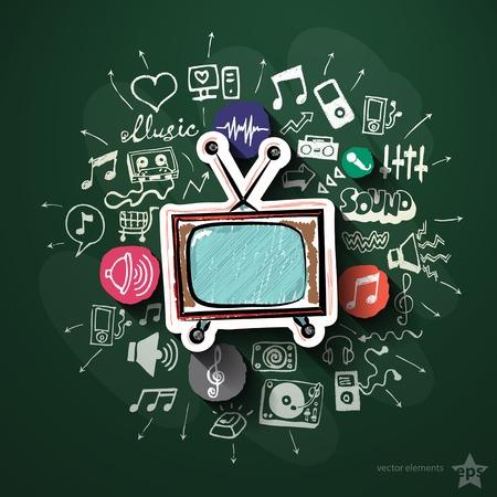Música y entretenimiento collage con iconos en la pizarra. Ilustración vectorial Foto de archivo - 34364345
