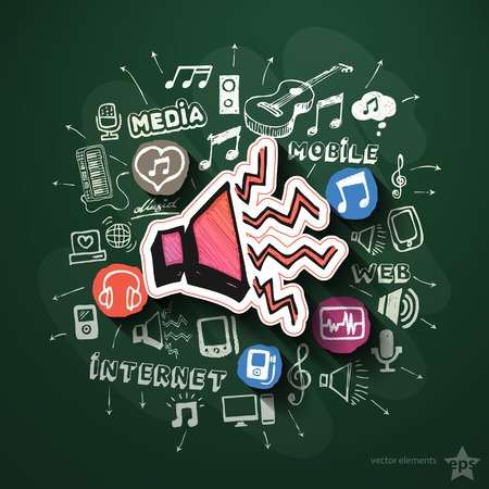 walkman: Music and entertainment collage with icons on blackboard. Vector illustration