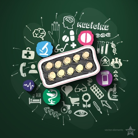 Medicine collage with icons on blackboard. Vector illustration Vector