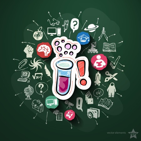 Science collage with icons on blackboard. Vector illustration Vector