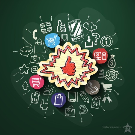 Shopping collage with icons on blackboard. Vector illustration Vector