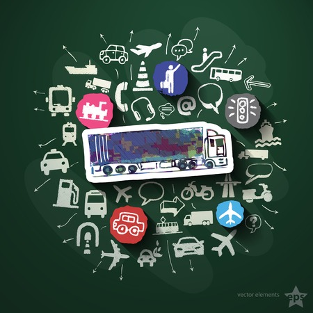 Transportation collage with icons on blackboard. Vector illustration Vector