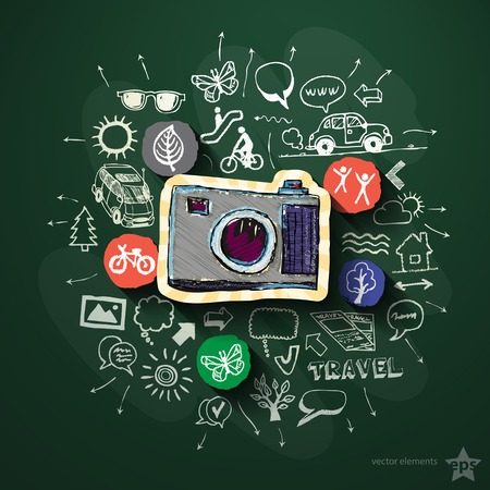 Travel collage with icons on blackboard. Vector illustration Vector