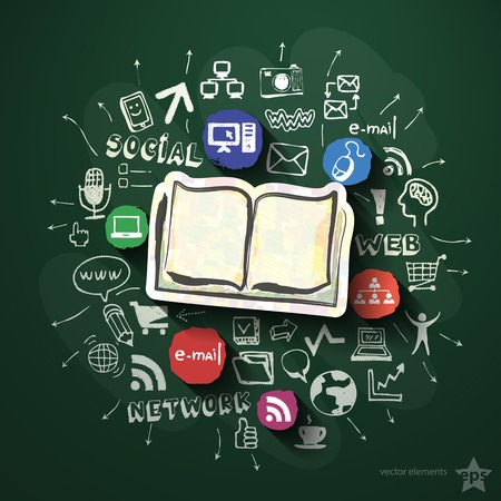 Social network collage with icons on blackboard. Vector illustration Vector
